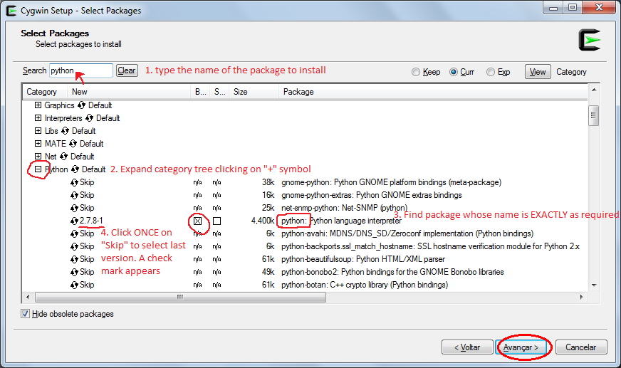 Cygwin installation screen - Step 7 - package selection