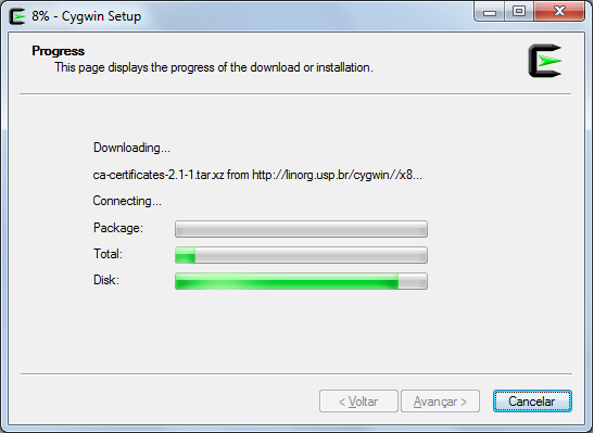 Cygwin installation screen - Step 9